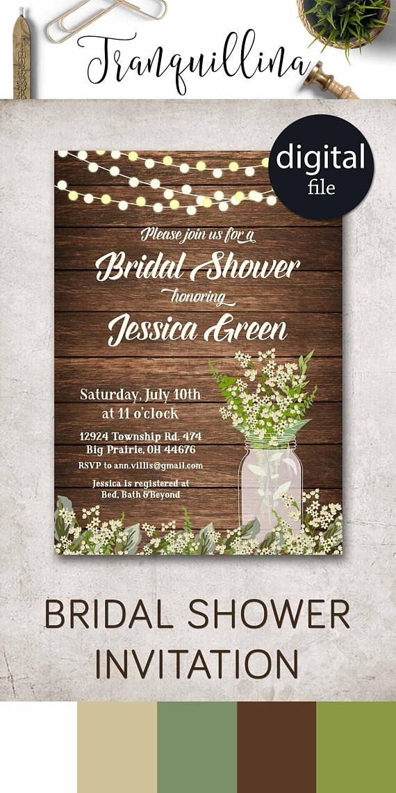 ideas for country wedding invitations%0A Rustic Bridal Shower Invitation Printable Bridal Shower Invitation Mason  Jar Shower Invitation Spring bridal shower Invitation Babys breath