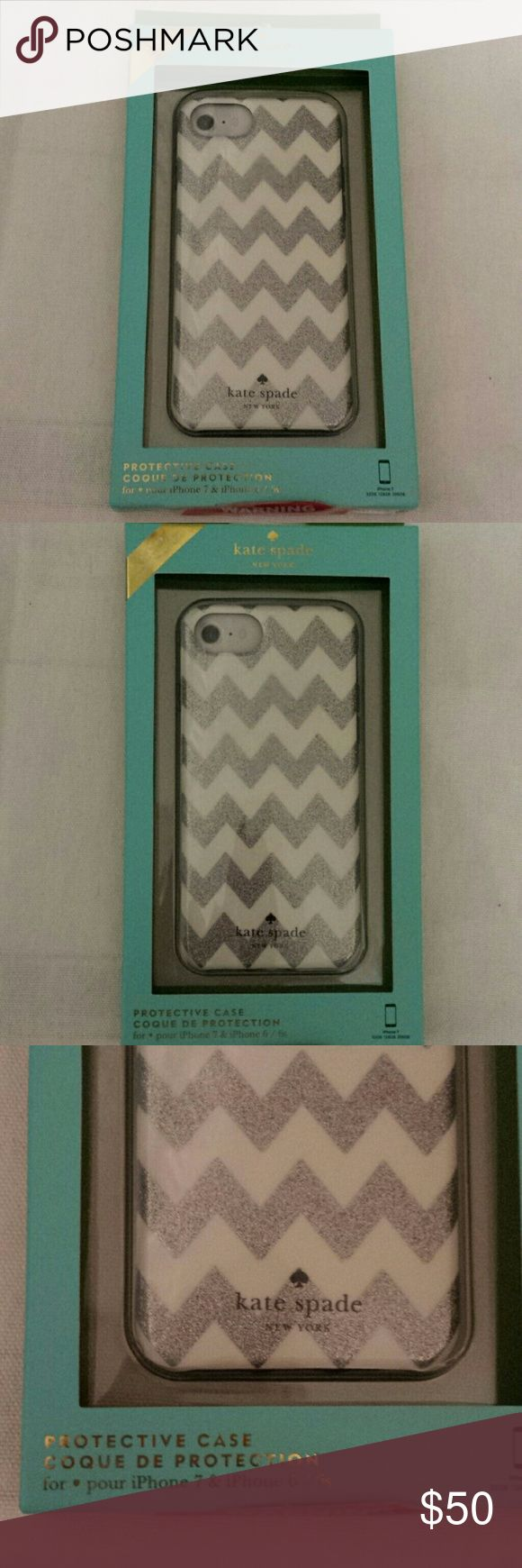 Kate Spade NWT Silver Glitter Chevron IPhone Case Kate Spade NWT Silver Glitter Chevron Protective Case, for IPhone 7and 6/6s, new in box Kate Spade Accessories Phone Cases