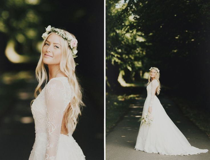 Flowing long beachy blonde waves... waist length hair. Norwegian bride in France.