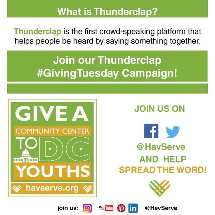 #HavServe identifies at-risk immigrant youth and offers the support and the knowledge they need to make good choices for the future. The Youth Services Program is operating since 2011! Support our #GivingTuesday campaign!  #cause #CharityTuesday #dogood #Youth #empowerment #Thunderclap #volunteer #mentoring #WashingtonDC #DC #Charity #giveback #spreadtheword #fundraiser #socialgood #globalchange #support #joinus #crowdspeaking #crowdfunding