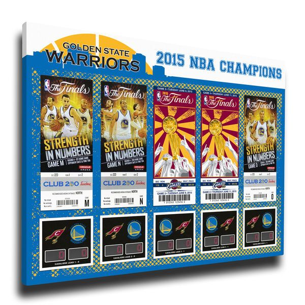 """Golden State Warriors 2015 NBA Finals Champions 16"""" x 29"""" Tickets to History Canvas Print - $79.99"""