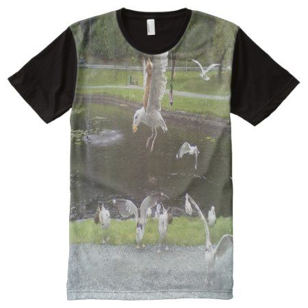 Cat flying a Seagull All-Over-Print Shirt - tap to personalize and get yours