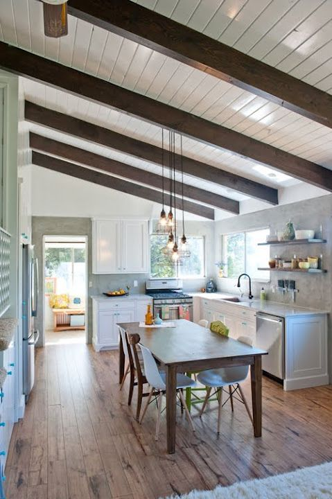 From 39 the bee hive 39 white wood ceilings with dark wood for Decorative beams in kitchen