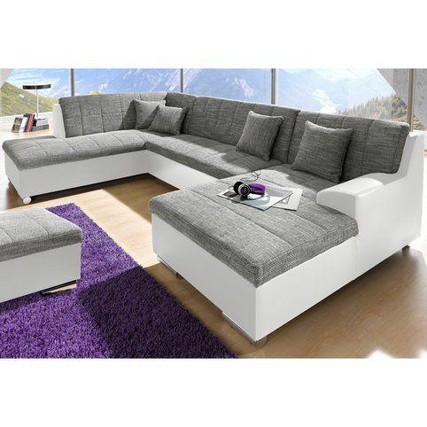 Canapé panoramique convertible en imitation cuir et tissu, méridienne fixe…