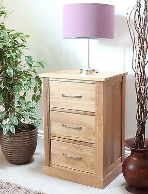 #Mobel #solid Oak Furniture Three Drawer Lamp #bedside Table And Felt Pads,