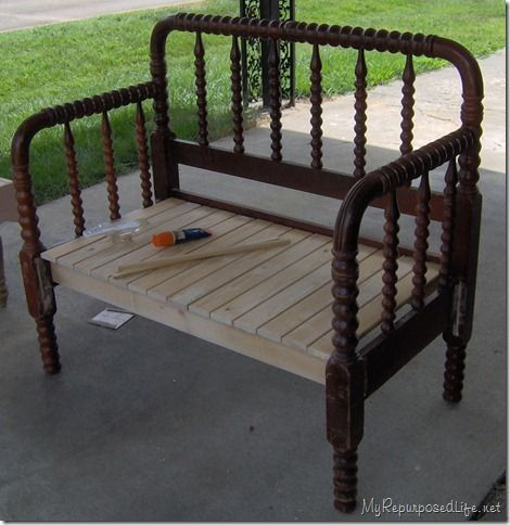 Headboard Bench. Would be cute with some pillows on the patio!