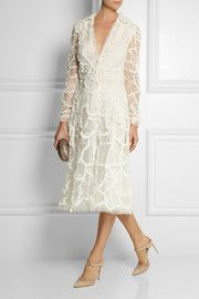 ValentinoPatchwork lace, tulle and point d'esprit midi dress