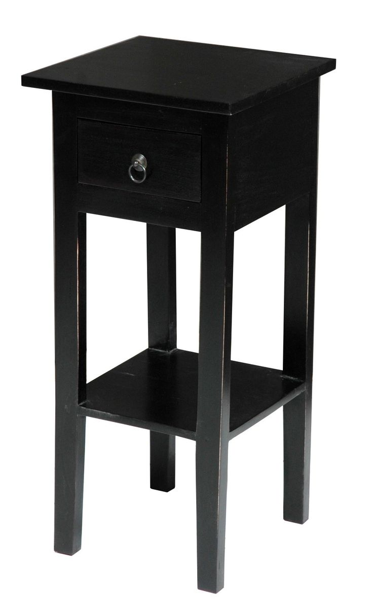 Black side table with drawer - Cottage Narrow Side Table In Antique Black