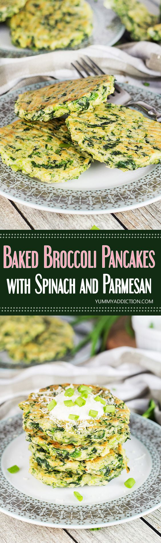 These spinach and Parmesan packed Broccoli Pancakes are so delicious that even those who are not too fond of this green veggie are going to love them! | yummyaddiction.com