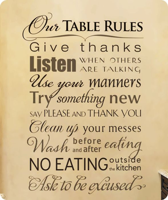 Kitchen Rules | Kitchen Table Rules Decal
