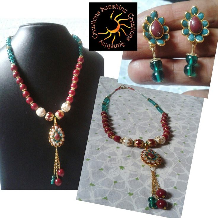 Maroon pachi set with menakari beads and glass beads  OUT OF STOCK