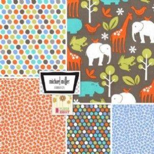 Fat Quarter Bundle Cottons: Elephants Love Dirt, 5 Fabrics - cotton fabric