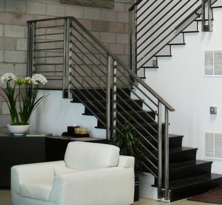 Stair, : Creative Picture Of Home Interior Design And Decoration Using Stainless Steel Aluminium Staircase Railing Including Stainless Steel Staircase Banister And Modern Black Steel Half Turn Staircase