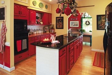 new white kitchen before and after red cabinets yellow walls and