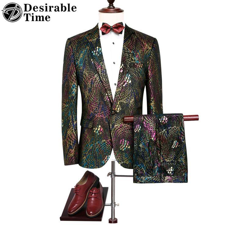Mens Colorful Sequin Suits with Pants M-4XL Autumn New Fashion Luxury Wedding Party Suits for Men DT066 #Affiliate