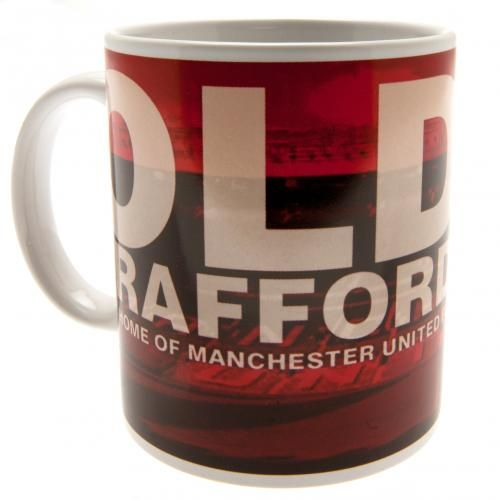 Manchester United mug in club colours and featuring a background image of the iconic Old Trafford stadium.. FREE DELIVERY on all of our gifts