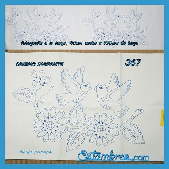 Diamante Camino 150x45cm Manta Blanca Para Bordar Esquemas Etsy Fabric Paint Designs Hand Embroidery Hawaiian Quilts