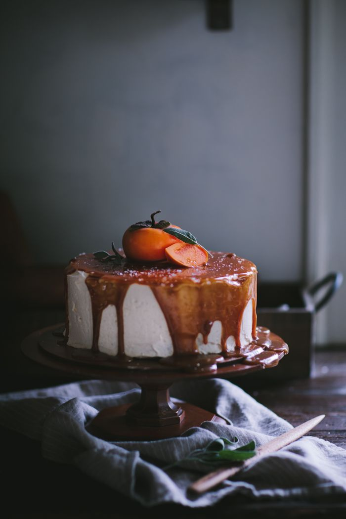 Persimmon Cake with Brown Butter Icing and Salted Creme Fraiche Caramel