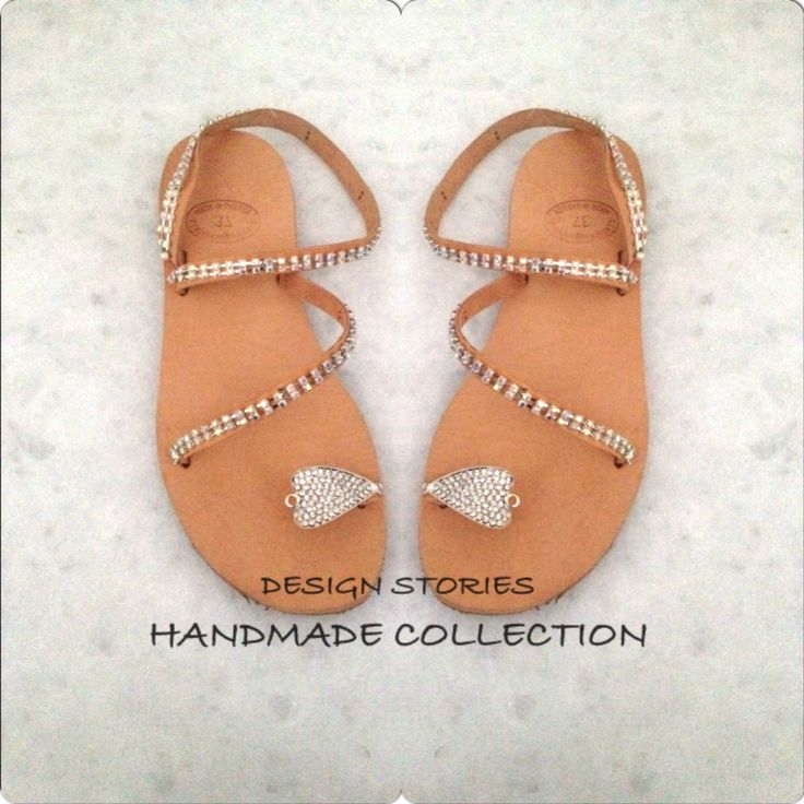 Handmade leather sandals with crystals
