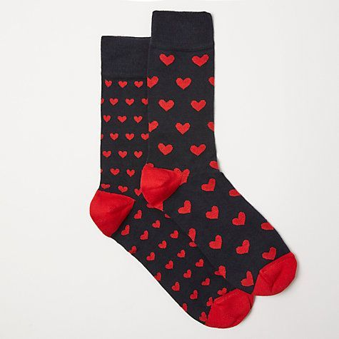 Valentines Gifts for HIM 2018 :    Buy John Lewis Heart Socks, Pack of 2, One Size, Black/Red Online at johnlewis.com