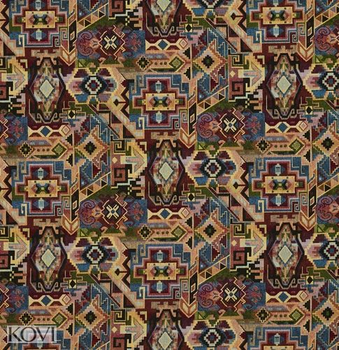 Teal Beige Black and Burgundy Multicolored Geometric Country or Southwestern  Upholstery Fabric