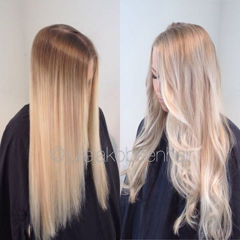 • A balayage mix of sponge lights and painting • Wella Blondor 9+12%, heavy in the front and 3 pieces in the crown area. 25 minutes in low heat. Toned with CT 20g 10/81+20g 10/6 + 5 g 7/0 in the root area and the leftovers + 20g 10/6 4% in the lengths for 10 minutes 🌸 #wellahair #wellalife #wellaeducation #balayage #spongelights #hairpaint #norway #olaplex