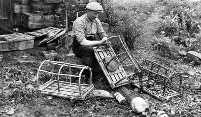Old photograph of a lobster fisherman in Crail, East Neuk of Fife, Scotland