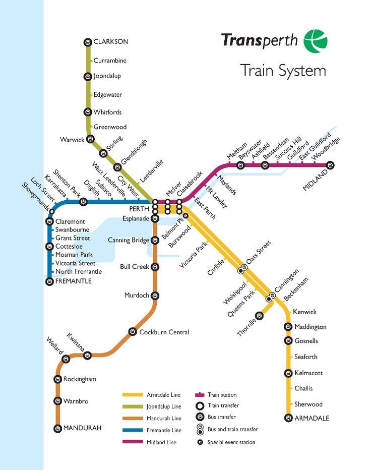 Transperth In 2019 Train Map Perth Perth Western Australia