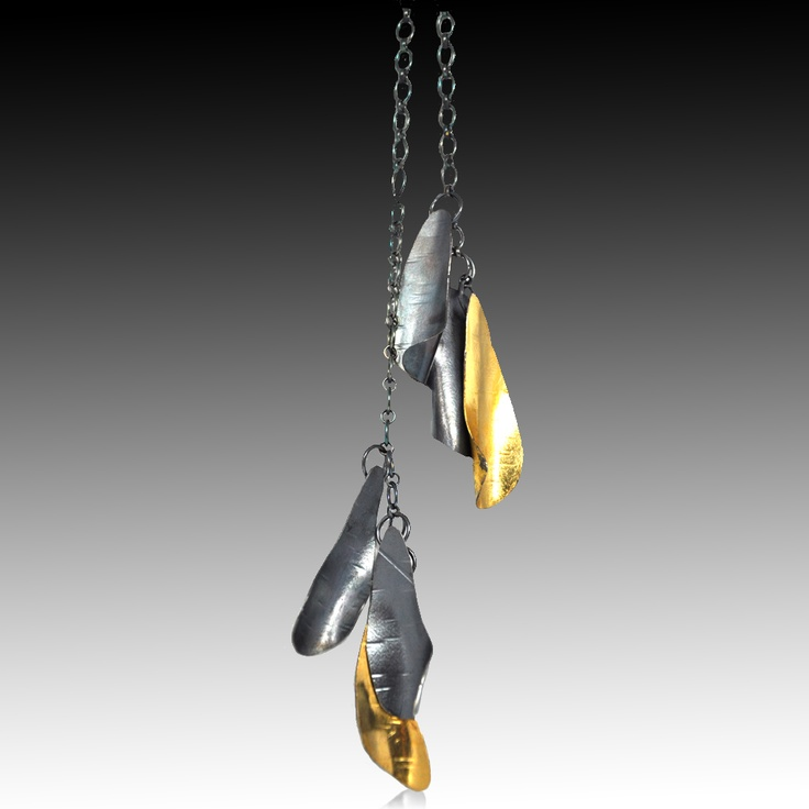 Black and Gold Curly Bark Lariat, 22K Bimetal, 24 Gold leaf, Oxidized sterling silver by Lori Gottlieb