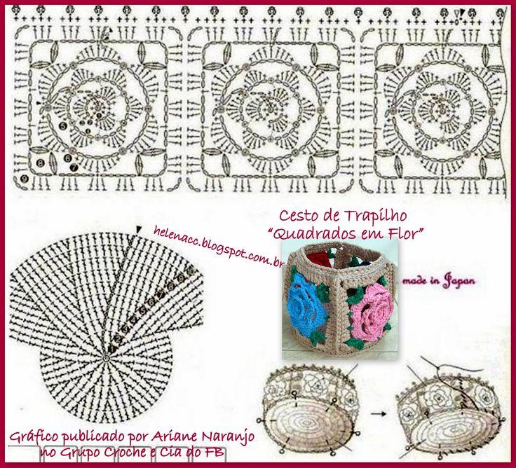 Um cesto ou cachepot de trapilho feito de quadrados ou squares, cada um com uma flor de sua cor. Achei este motivo muito gracioso!         ...