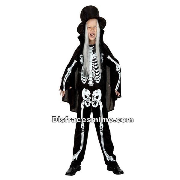 Tu mejor disfraz de esqueleto de niño.Este original disfraz de Esqueleto para niño aterrarás a los asistentes a Fiestas de Disfraces, Halloween o Carnavales. Ahora sólo falta que tú le des ese toque especial con tu ritmo de muerte.Categoria: disfraz halloween infantil para niñoIncluye: Sombrero,capa y mono