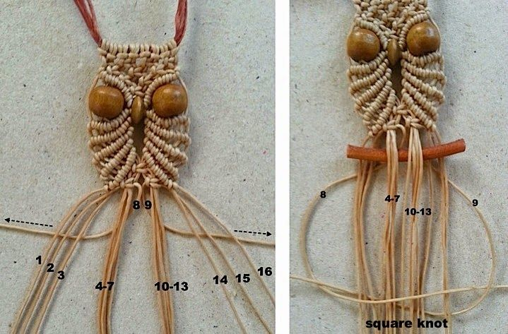 Ecocrafta: Small owl macrame necklace                                                                                                                                                     Plus