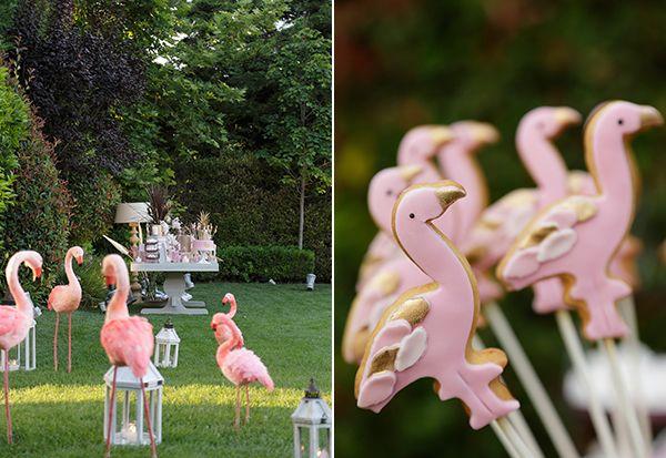 flamingo themed baptism celebration