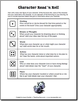Facilitating Literacy:  Character Read and Roll Freebie
