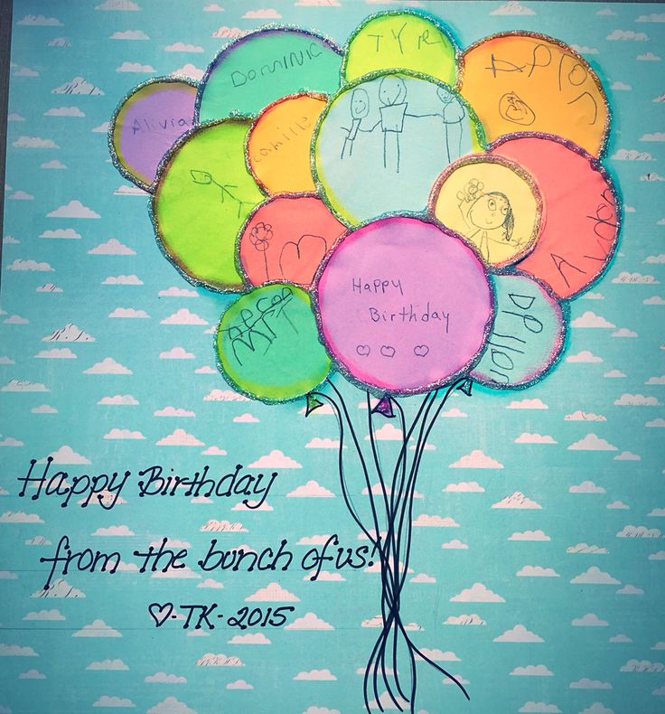 Class project for Teacher birthday gift- each child in Trans-kindergarten decorated a circle/ balloon. Glued to scrapbook paper and framed. Happy Birthday from the Bunch of us!