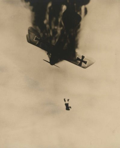World War I Albatross going down. Most pilots did not wear parachutes and chose to plunge to their deaths rather than burn in their planes.