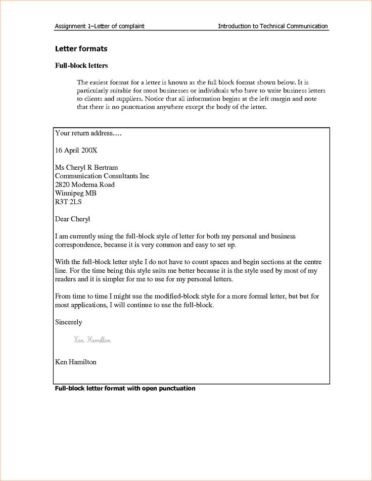 Block Style Business Letterreport Template Document Report Letter