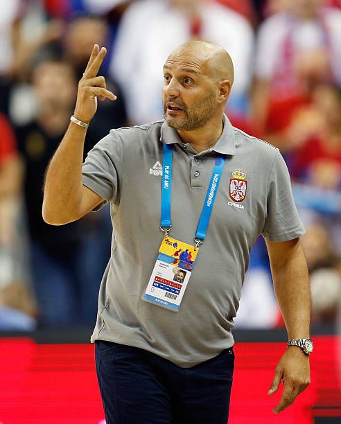 Head coach Aleksandar Djordjevic of Serbia gestures during the FIBA EuroBasket 2015 Group B basketball match between Spain and Serbia at Arena of...