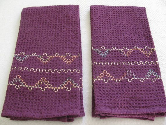 Items similar to Decorator Purple Waffle Weave Towel - Tea Towel - Hand Towel - Kitchen Towel on Etsy