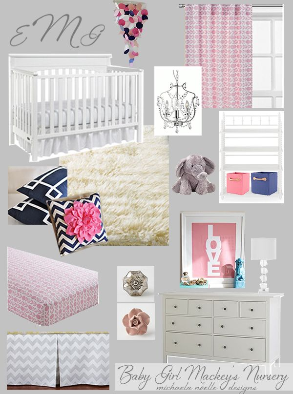 If I ever have a girl. I think I want to do gray walls, pink bedding, navy accents. How adorable! Michaela Noelle Designs: Navy & Pink Nursery - love the chevron flower pillow