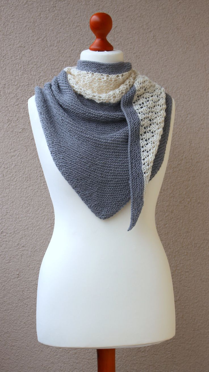 Gray white shawl alpaca silk wrap handknitted by OlaKnits on Etsy