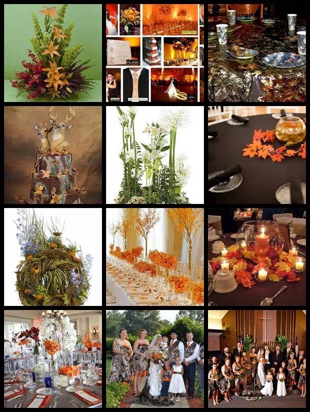 Wonderful Fall Camo And Orange Wedding Reception Decoration Idea