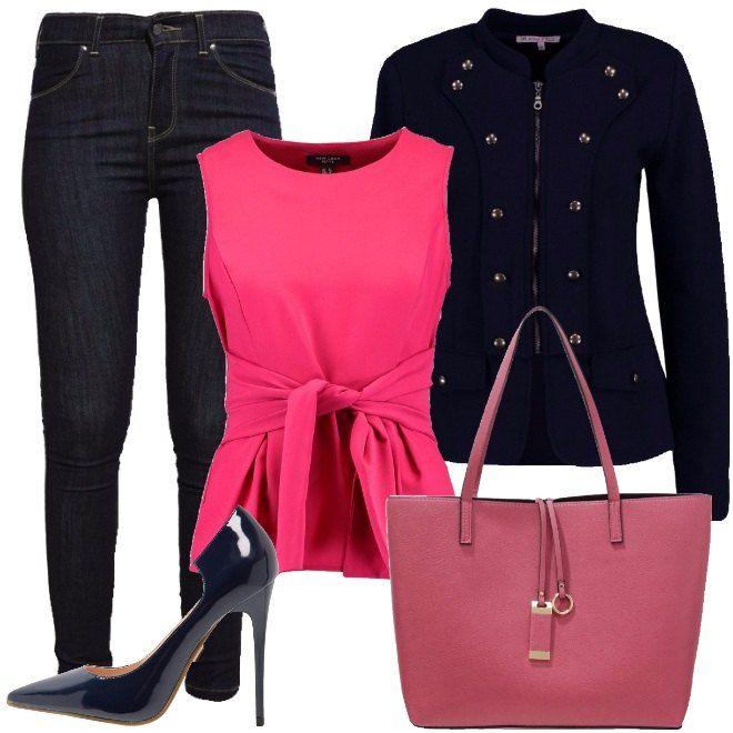 Il look è ispirato ad una donna giovane, che anche in ufficio non vuole rinunciare ad essere trendy. I jeans blu scuro, modello skinny, a vita alta sono perfetti per le donne meno alte. Il top arricchito da un fiocco in vita è di un bel rosa acceso. La giacca modello militare ha una linea molto femminile. Completano il look, le décolleté blu, con tacco alto ed effetto lucido e la borsa a mano rosa scuro, che riprende la nuance del top.