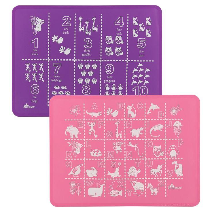 Brinware ABC & 123 Pink/Purple Placemat - Set of 2, Bubble Gum