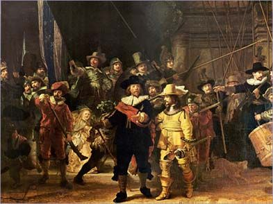 nachtwacht- rembrandt = I saw this in Amsterdam - breath-taking! Life-sized painting, by the way