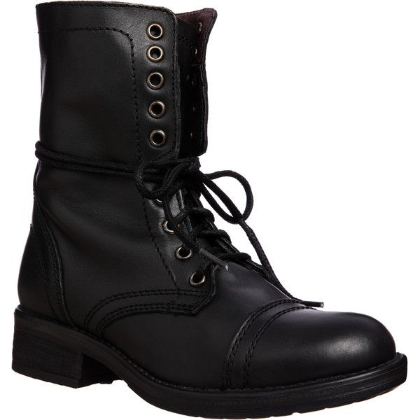 Tropa2 Steve Madden Women's Lace up Combat Boot (£78) ❤ liked on Polyvore featuring shoes, boots, ankle booties, combat boots, ankle boots, brown, lace-up wedge booties, platform booties, brown lace up booties and wedge booties