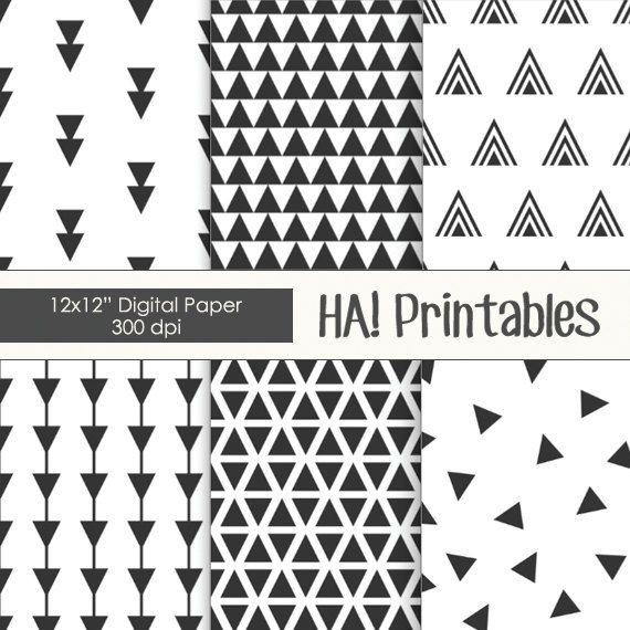 Printable Digital Paper Chevron Arrows Triangles