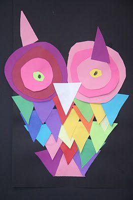 Cut Paper Shape Owls ... fun kid project!