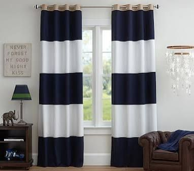 "Rugby 44 x 63"" Blackout Panel, Navy/White at Pottery Barn Kids - Blackout Curtains - Kids' Bedroom Drapes"