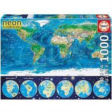 Educa 1000 Parça Neon Puzzle World Map 16760